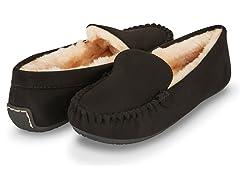 Womens Basic Faux Fur Moccasin Slipper, Black