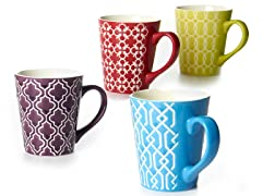 BIA Set of 4 13 oz Mugs-Glaze Pattern