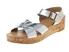 Carrini Criss-Cross Wedge Sandal, Silver