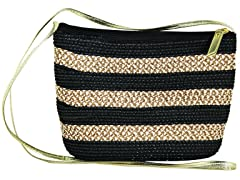 Straw Bags, Black/Natural