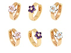 Gold Aqua, Pink, & Purple Crystal Flower Set of 3 Huggie Earrings