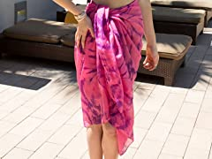 Tie-Dye Cotton Sarong Pink & Purple