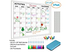 24x36in Dry Erase Wall Calendar - 3 Pack