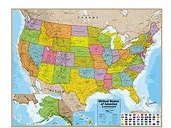 USA Blue Ocean Wall Map