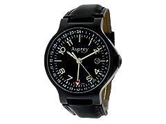 No 8 Round Dual Time Black Watch