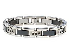 Black CZ Classic Link Bracelet