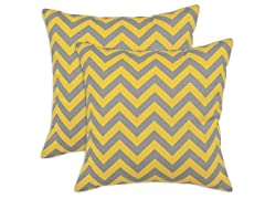 Zig Zag Ash Corn 17x17 Pillows-S/2
