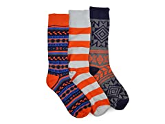 Orange Navy Socks 3-Pairs