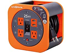 Link2Home 25' Extension Cord Reel with USB