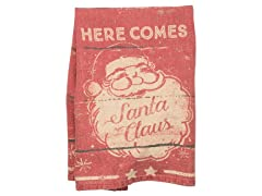 Primitives By Kathy Dish Towel - Here Comes Santa