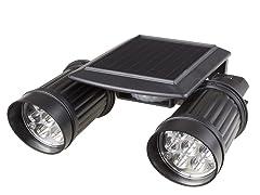 Solar Powered 14 LED Dual Head Motion Sensor Wall Spotlight