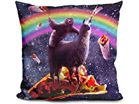 LiLiPi Brand Space Sloth Riding Llama Pillow