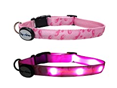 "Pink Ribbon LED Dog Collar, Med (10""-15"")"