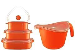 Batter Bowl, Lid & 6-Piece Set Orange