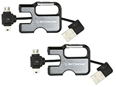 Scosche Keychain Charge/Sync Cable for mini/microUSB - 2pk