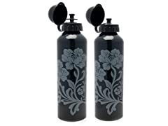 Vintage Glam Charcoal Aluminum Water Bottle 2-Pack