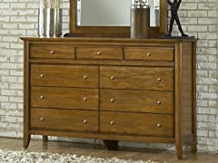 City II Nine Drawer Dresser in Pecan