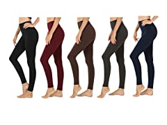 Women's Premium Fleece-Lined Leggings 5P