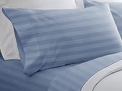 300TC Egyptian Cotton Sheet Set-Light Blue-5 Sizes