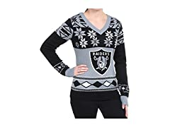 NFL Women's V-Neck Sweater, Oakland Raiders, Medium