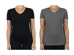 Women's 2-Pack Short Sleeve V-Neck Tee