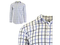 Geo Plaid Dress Shirts W Chest Pocket