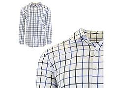 Geo Plaid Dress Shirts W Chest Pocket