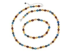 Blue Tint Pearl Necklace & Bracelet