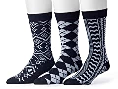 Muk Luks Men's 3 Pair Pack Socks, Black