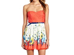 Trixxi Juniors Belted Chiffon Dress, Coral/White