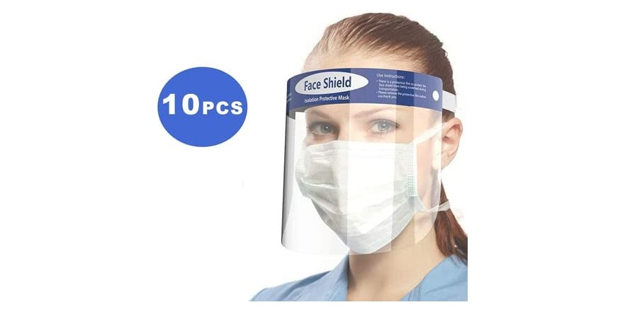 Reusable Anti-Fog Face Shields with Adjustable Headbands and Foam Padding (10-Pack, $1.80 per Shield)   WOOT