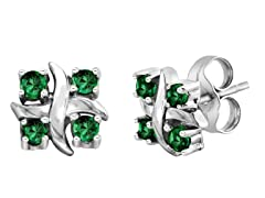 SS Created Emerald X Earrings