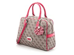 Guess Skya Box Satchel Handbag, Cherry
