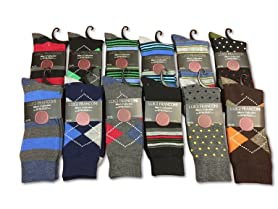 Men's Dress Socks: 12, 24, and 30 Packs