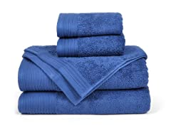 6-Piece Supima Cotton Towel Set-Sapphire