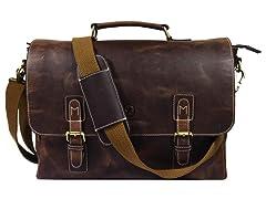 Vintage Leather Messenger Crossbody Bag
