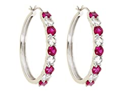 Created White Sapphire & Created Ruby Hoop Earring
