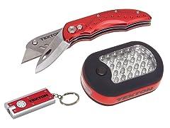 LED Light & Utility Knife w/ Keychain