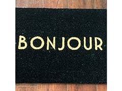 Printed Coir Welcome Mat, Bonjour