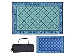 Reversible Outdoor Patio Mat 6-Feet x 9-Feet, Blue
