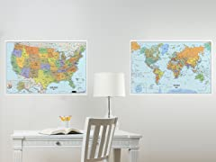 Dry Erase USA and World Map