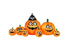 8' Jack 'O' Lantern Pumpkin Patch Family with Cat