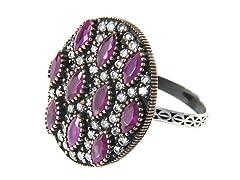 SS Otantic Oval Dyed Ruby Genuine Semi-Precious Gemstone CZ Ring