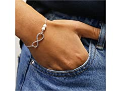 Sterling Silver And Pearl Infinity BR