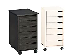 Euro Solid Wood 6 Drawer Roll Cart