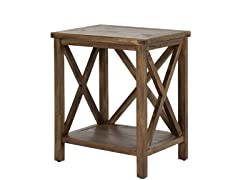 Candence Cross Back End Table Dk Walnut