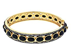 18K Gold-Plated SS Black Onyx Semi-Precious Gemstone Bangle