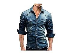 ED express Men's Casual Denim Shirt