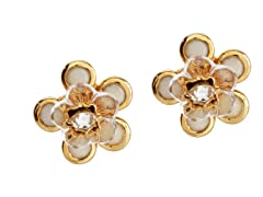 Relic Cream Flower Stud Earrings, Gold