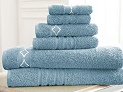 6 Pc Cotton Diamond Embroidered Towels